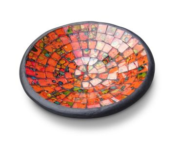 Mosaikschale orange combination / Ton mit Glas