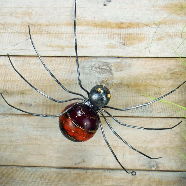 Spinne Hubertine rot orange für die Wand 40 cm / Metall